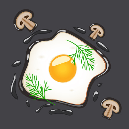 Fried eggs with dill and mushrooms, isolated on grey background. Vector illustration