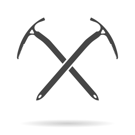 Crossed ice axes for climbing and mountaineering. Mountain equipment. Vector illustration
