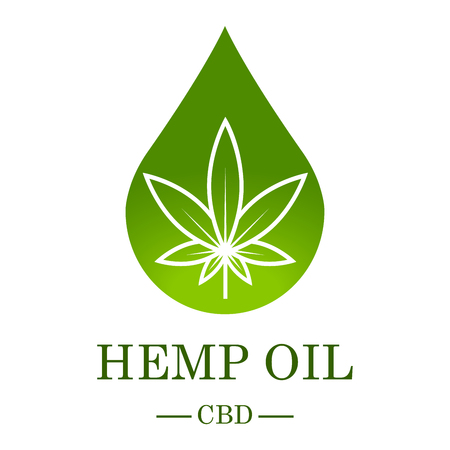 Marijuana leaf. Medical cannabis. Hemp oil. Cannabis extract. Icon product label and icon graphic template. Isolated vector illustration.