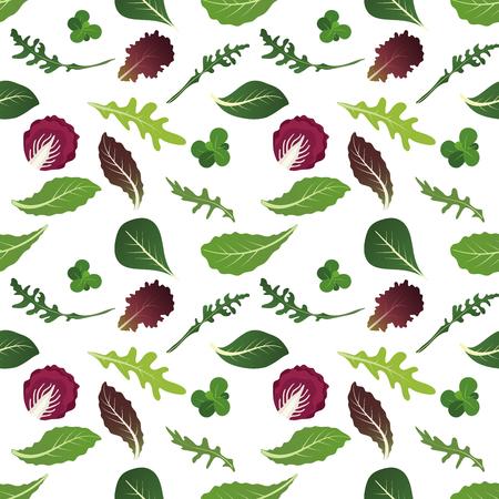 Mischung aus Salatblättern. Rucola, Spinat, Salatblatt, Brunnenkresse und Radicchio. Nahtloses Muster. Vektor-Illustration