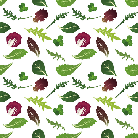 Mix of salad leaves. Arugula, spinach, lettuce leaf, watercress and radicchio. Seamless pattern. Vector illustration