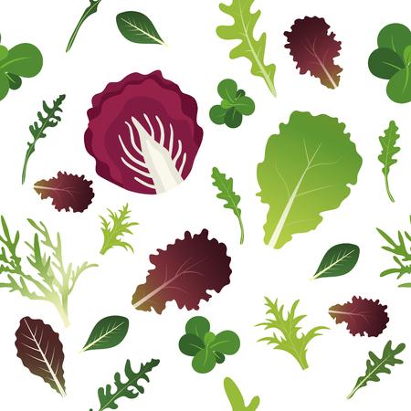 Mix of salad leaves. Arugula, spinach, lettuce leaf, watercress and radicchio. Seamless pattern. Vector illustration. Stok Fotoğraf