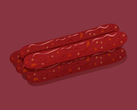 Smoked sausage. Isolated fresh meat icons. Vector illustration Illustration