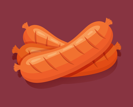 Grilled sausage. Isolated fresh meat icons. Vector illustration