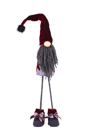 Christmas elf with pointed hat. Scandinavian gnome, troll, decorative christmas toy, isolated on white background. Stock Photo