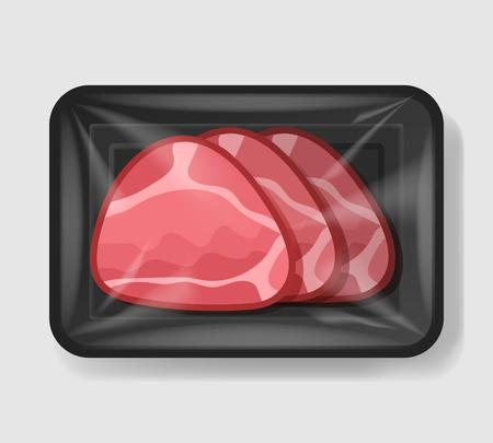 Jamón cocido glaseado en bandeja de plástico con tapa de celofán. Plantilla de maqueta para su diseño. Recipiente de plástico para alimentos. Ilustración vectorial. Ilustración de vector