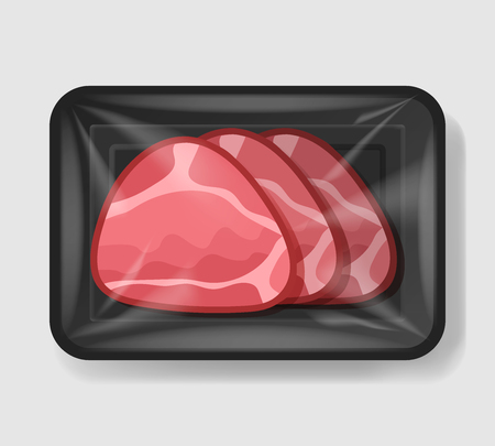 Baked glazed ham in plastic tray container with cellophane cover. Mockup template for your design. Plastic food container. Vector illustration.
