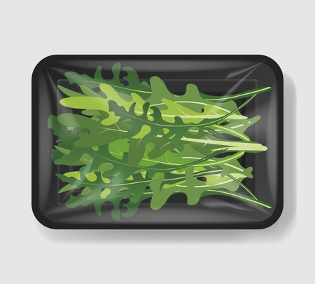 Arugula salad leaves with plastic tray container with cellophane cover. Mockup template for your design. Plastic food container. Vector illustration