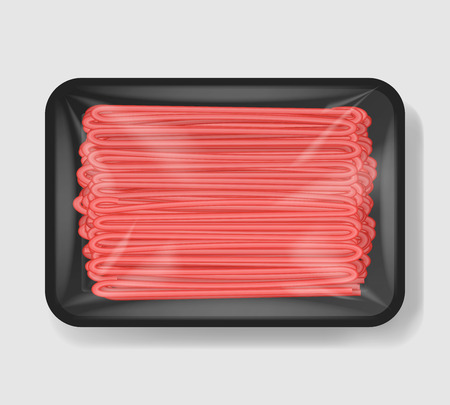 Minced meat in plastic tray container with cellophane cover. Mockup template for your design. Plastic food container. Vector illustration
