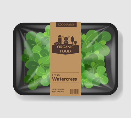 Watercress salad leaves with plastic tray container with cellophane cover. Retro design. Mockup template for your salad design. Plastic food container. Vector illustration