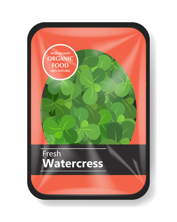 Watercress salad leaves with plastic tray container with cellophane cover. Mockup template for your salad design. Plastic food container. Vector illustration