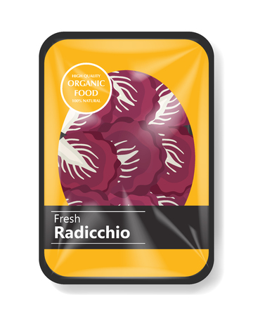 Radicchio salad leaves with plastic tray container with cellophane cover. Mockup template for your salad design. Plastic food container. Vector illustration