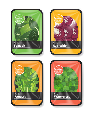 Salad leaves with plastic tray container with cellophane cover. Mockup template for your salad design. Plastic food container. Vector illustration