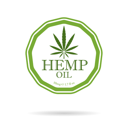 Marijuana leaf. Medical cannabis. Hemp oil. Cannabis extract. Icon product label and graphic template. Isolated vector illustration.