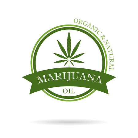 Marijuana leaf. Medical cannabis. Hemp oil. Cannabis extract.Icon product label and graphic template. Isolated vector illustration.  イラスト・ベクター素材