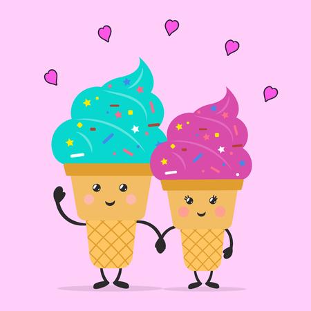 Ice cream in love. Ice cream time. Ice cream cartoon characters. Flat style. Vector illustration