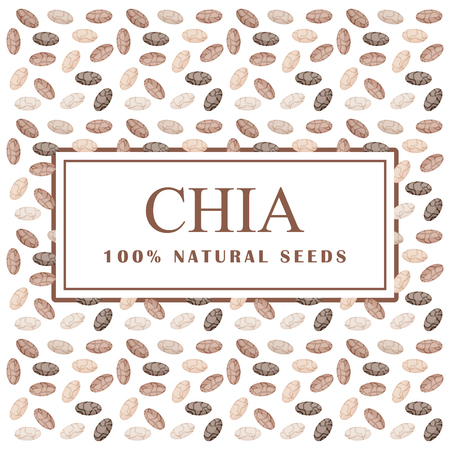 Chia seeds. Organic ingredient. Healthy super eco food. Seamless pattern. Vector illustration