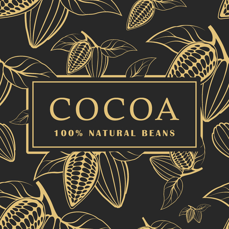 Cocoa beans with leaves on dark background. Seamless pattern. Vector illustration Vetores