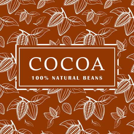 Cocoa beans with leaves on brown background. Seamless pattern. Vector illustration.