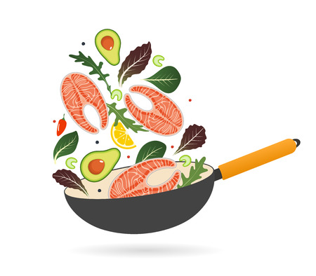 Pan with salmon steak, avocado, tomatoes and lettuce. Top view. Creative design for breakfast menu, cafe, restaurant. Vector illustration.