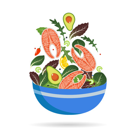 Bowl of fresh mix of salad leaves, vegetables and salmon. Arugula, lemon, avocado and peppers. Vector illustration