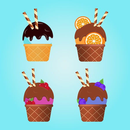 Different ice cream with wafer rolls in waffle cup, dairy product. Ice cream scoop image in flat style. Seamless pattern. Vector illustration