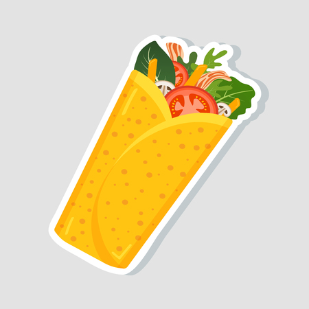 Traditional mexican burrito. Spicy delicious burrito   for restaurant or cafe design. Mexican food. Vector illustration.