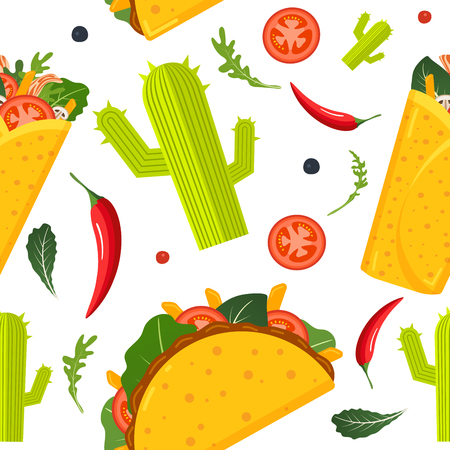 Mexican food seamless pattern. Burrito, taco, hot pepper and green lettuce. Colorful background, cute style. Vector illustration Vector Illustration