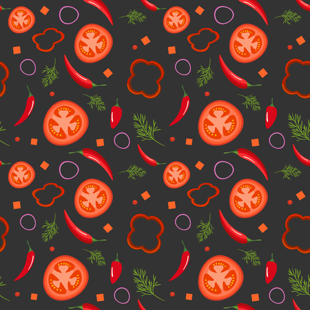 Seamless pattern on dark background with red vegetables. Tomatoes, paprika, hot peppers, onions and dill. Vector illustration Иллюстрация