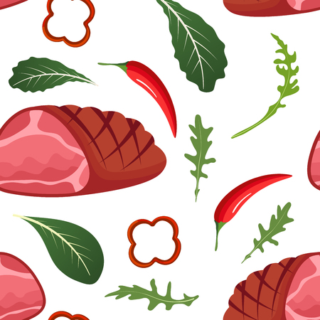 Seamless pattern on white background with baked glazed ham, paprika, hot pepper, onion and arugula. Meat products background. Vector illustration Illustration
