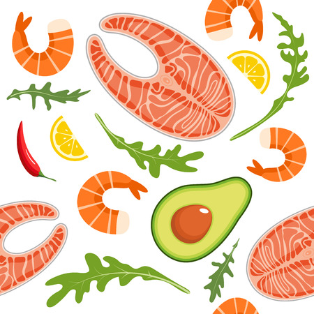 Seamless pattern on white background with shrimp, salmon, avocado, arugula and lemon slice. Seafood and avocado background. Vector illustration