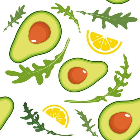 Seamless pattern on white background with avocado, arugula and lemon slice. Vector illustration 向量圖像