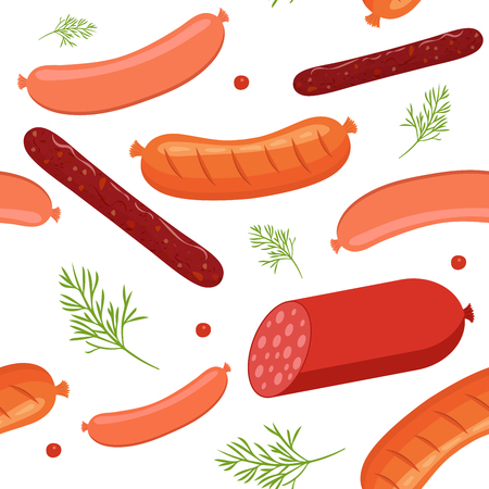 Seamless pattern on white background with sausages and salami. Sausage, salami and meat food with dill and peppercorns. Vector illustration