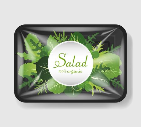 Mix of salad leaves in plastic tray container with cellophane cover. Mockup template for your design. Plastic food container. Vector illustration