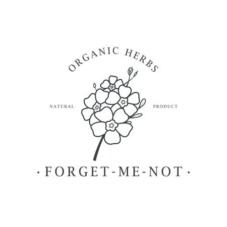 Forget me not flower. Logo for spa and beauty salon, boutique, organic shop, wedding, floral designer, interior, photography, cosmetic. Botanical floral element