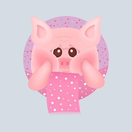 Cute little pig with red cheeks with pink scarf, on pink backgrounds. For baby card and invitation. Vector illustration