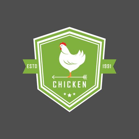 Premium chicken emblem. Labels, badges and design elements. Organic style. Green eco chicken stickers. Vector Illustration. Иллюстрация