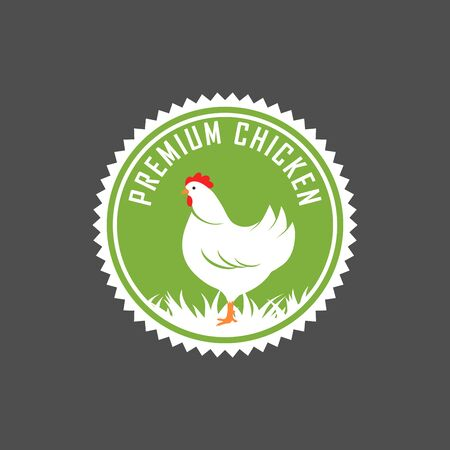Premium chicken emblem. Labels, badges and design elements. Organic style. Green eco chicken stickers. Vector Illustration.