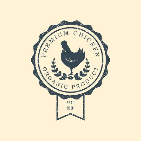 Premium chicken . Labels, badges and design elements. Retro style. Vector Illustration.