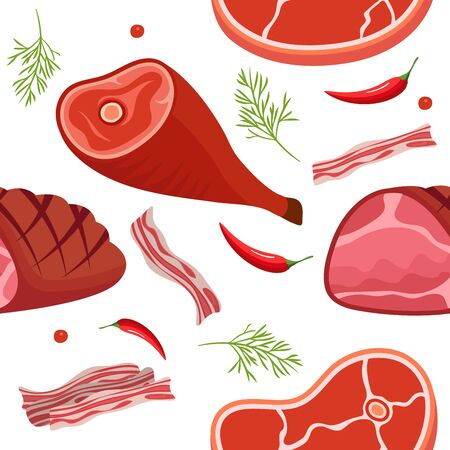 Seamless pattern on white background with gammon, ham, bacon, steak on the bone, hot pepper and dill. Meat products background. Vector illustration Illustration