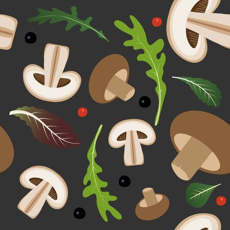 Seamless pattern on dark background with mushrooms and champignon slices. Mushrooms with lettuce and arugula leaves. Vector illustration 일러스트