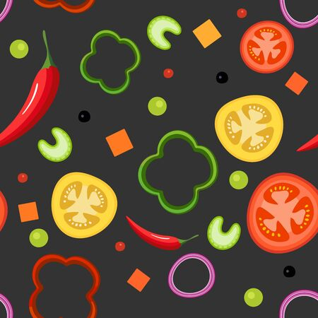 Seamless pattern on dark background with vegetables. Red and yellow tomatoes, paprika, hot peppers, onions, green peas and celery. Vector illustration
