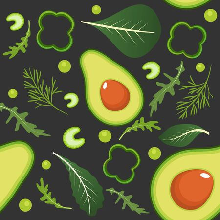 Seamless pattern on dark background with green vegetables. Avocado, paprika, green peas, celery, spinach, arugula and dill. Vector illustration