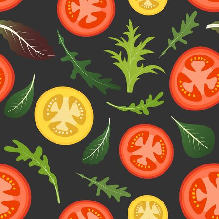 Seamless pattern on dark background with red and yellow tomatoes. Tomato vegetable with lettuce and arugula leaves. Vector illustration