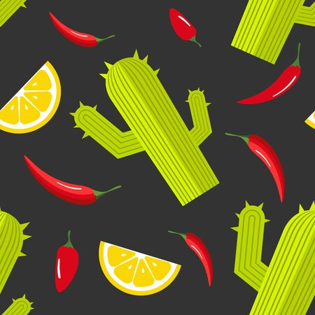 Seamless pattern on dark background with green cactus, hot red pepper and slice of lemon. Mexican food background. Vector illustration
