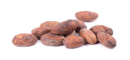Unpeeled cacao beans, isolated on white background. Roasted and aromatic cocoa beans, natural chocolate