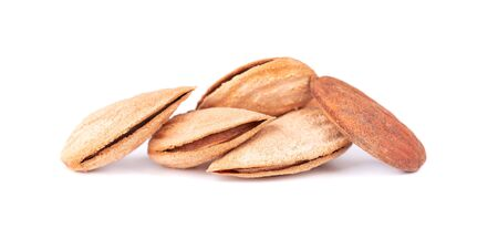Apricot nuts isolated on white background. Almond in shell Stok Fotoğraf