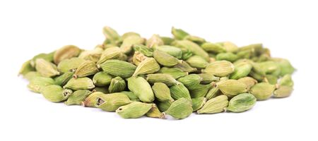 Cardamom pods isolated on white background. Green cardamon seeds. Stock fotó