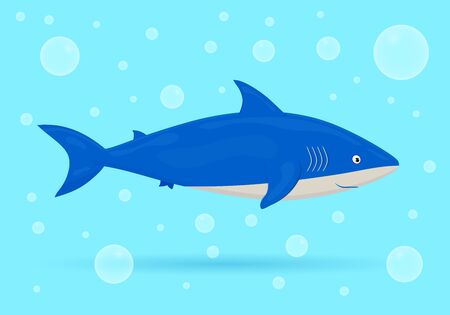 Shark on blue background with bubbles. Ocean fish. Underwater marine wild life. Vector illustration