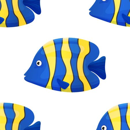 Cute tropical fish on white background. Brightly-coloured ocean fish. Underwater marine wild life. Seamless pattern. Vector illustration.